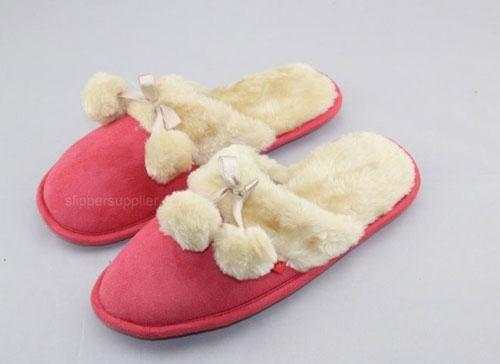 Ladies microsude faux fur cuff  pompom mule 1