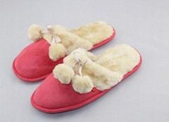 Ladies microsude faux fur cuff  pompom mule