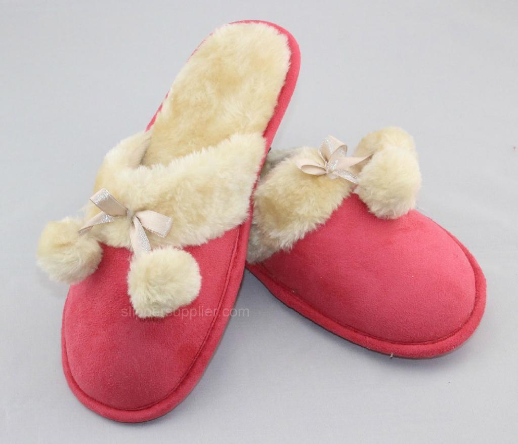Ladies microsude faux fur cuff  pompom mule 2