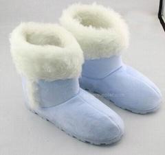 Ladies microsuede cuff side stitch boots
