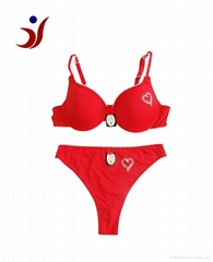 2013 Newest red lady bra and panty set with decoration heart