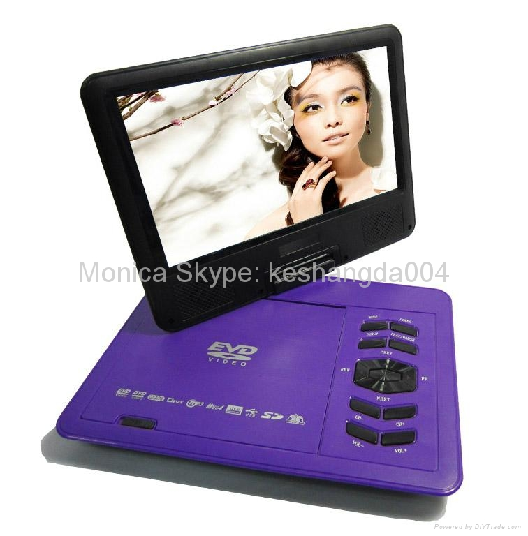 9 inch portable dvd player with TV tuner evd player 3