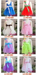 Girl Fashion Dresses Girl Summer Dress Braces Skirt with rose flower 086