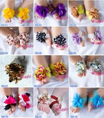 NEW Baby Infant Barefoot Blossom Sandals headband shoes flowers photo prop Silk