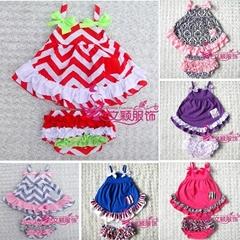 hot sale children clothes girls clothes girls dress swing top set