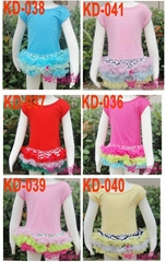 Wholesale Cotton baby cloth baby dress with ruffled pettiskirt hem 035