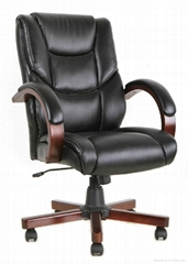 Office wooden chair manager executive hotel chair good synthetic leather ergonom