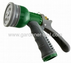 Plastic 6-pattern water hose nozzle with soft handle