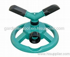Plastic 2-arm yard water rotary sprinkler with plastic base