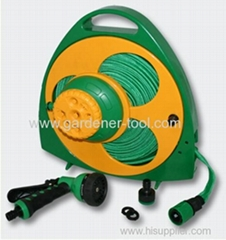 Portable flat hose reel with nozzle and sprinkler