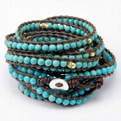 Leather beaded wrap bracelets