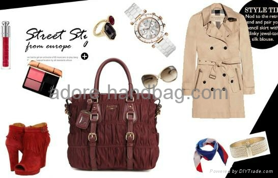 2013 genuine cow leather joint with imported umbrella cloth Handbag GP1207 1