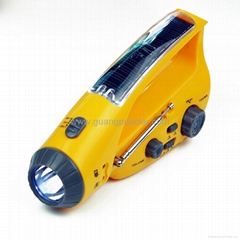 2013 Newest Solar LED Dynamo Flashlight With FM Radio