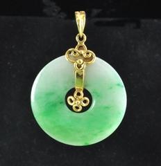 Vintage 18K Jadeite Jade Disk Pendant