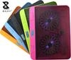 Colorful double fans notebook cooling pad with LED and adjustable angle abase