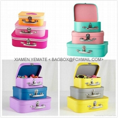 Popular Nice Paper Cardboard Suitcase with Handle for Kids Toy Collection & Gift