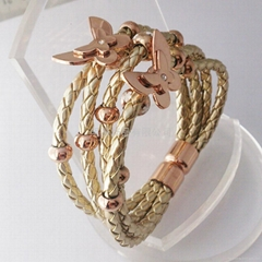 新款不锈钢饰品蝴蝶手镯金色皮手镯