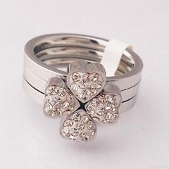 心形三合一不锈钢戒指