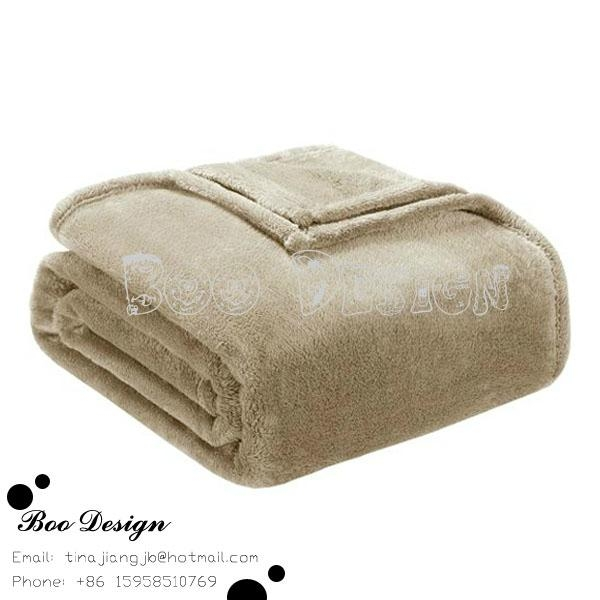 Soft Polyester Microfiber Plain Coral Fleece Throw Blanket 2