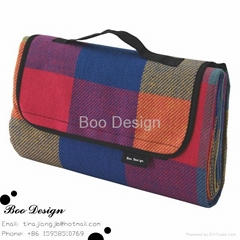 Microfiber Polar Fleece with Waterproof Back Picnic Travel Blanket