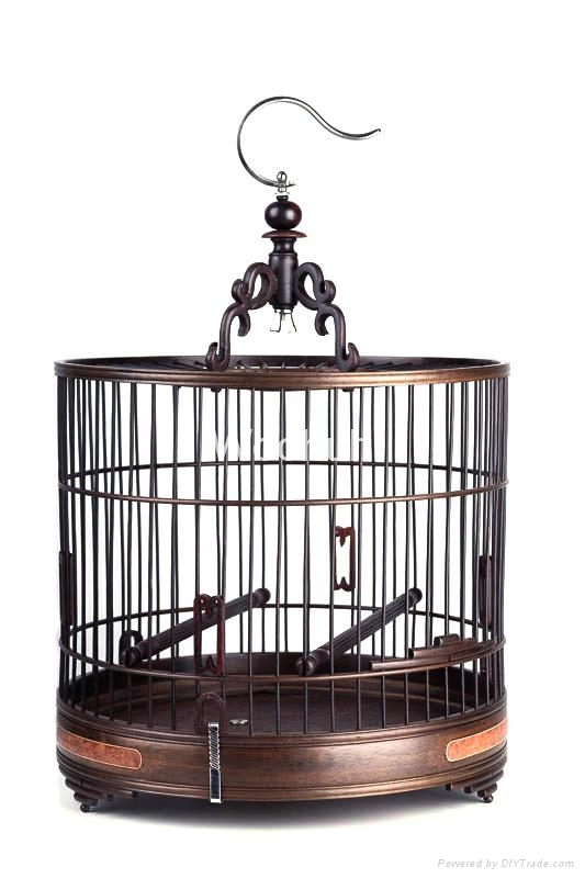 Vintage Chinese Rosewood Bird Cage 1