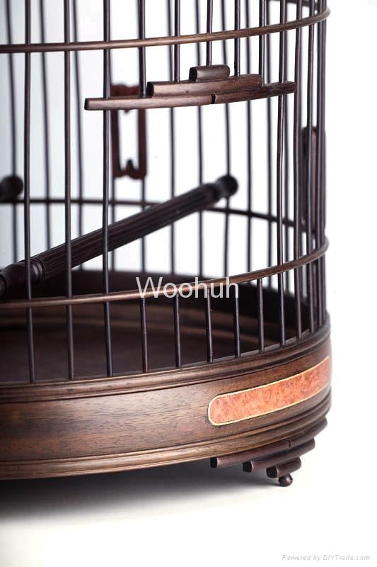 Vintage Chinese Rosewood Bird Cage 2