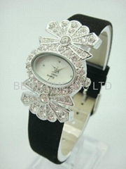 Fashion lady crystal leather watch