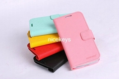 PU Leather Case Wallet Cover for Samsung Galaxy S4 I9500
