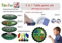 5 in 1 Table Games Set ( with magnet standard chess and 1 set of playing card)