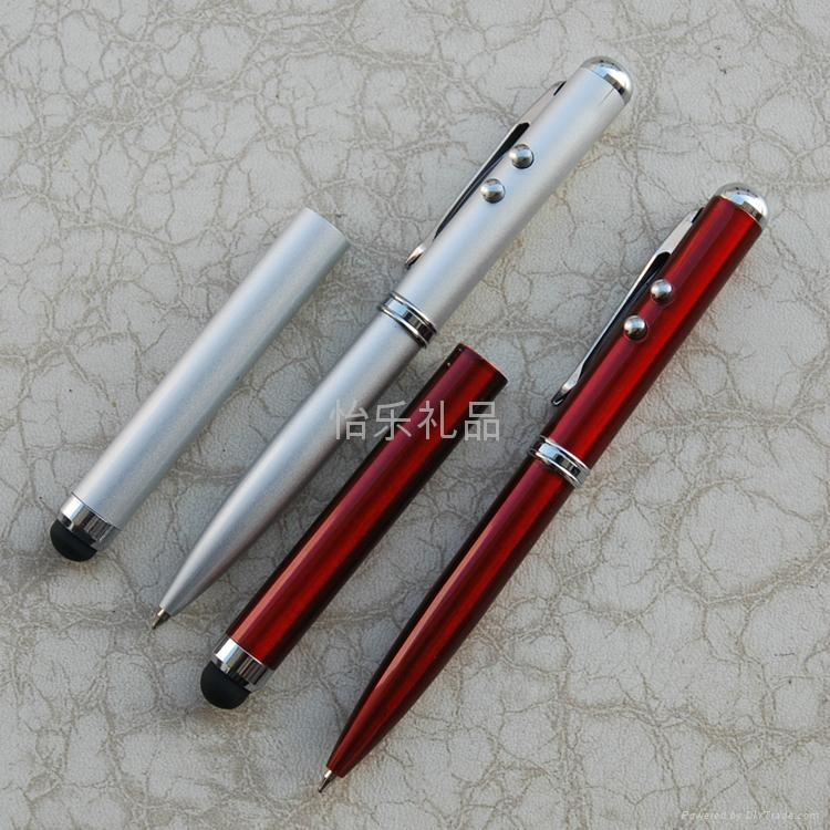 【廠家直銷】多功能激光電容觸摸筆 4in1電容筆 觸控手寫筆 1