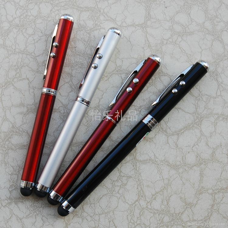 【廠家直銷】多功能激光電容觸摸筆 4in1電容筆 觸控手寫筆 3