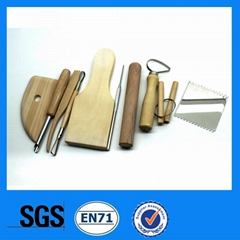 10pcs wood and stainless steel pottery tools set