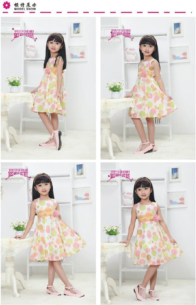 韓版純棉女童印花童裝時尚無袖背心連衣裙 3