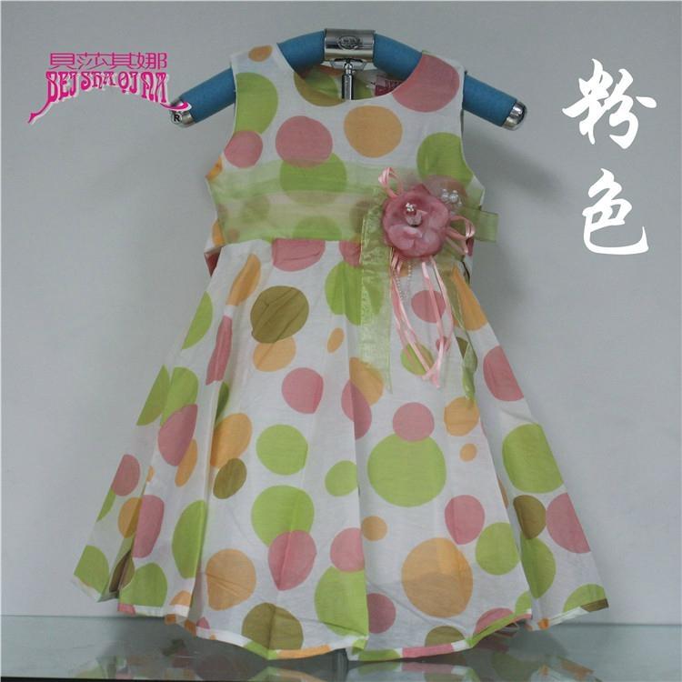 韓版純棉女童印花童裝時尚無袖背心連衣裙 5