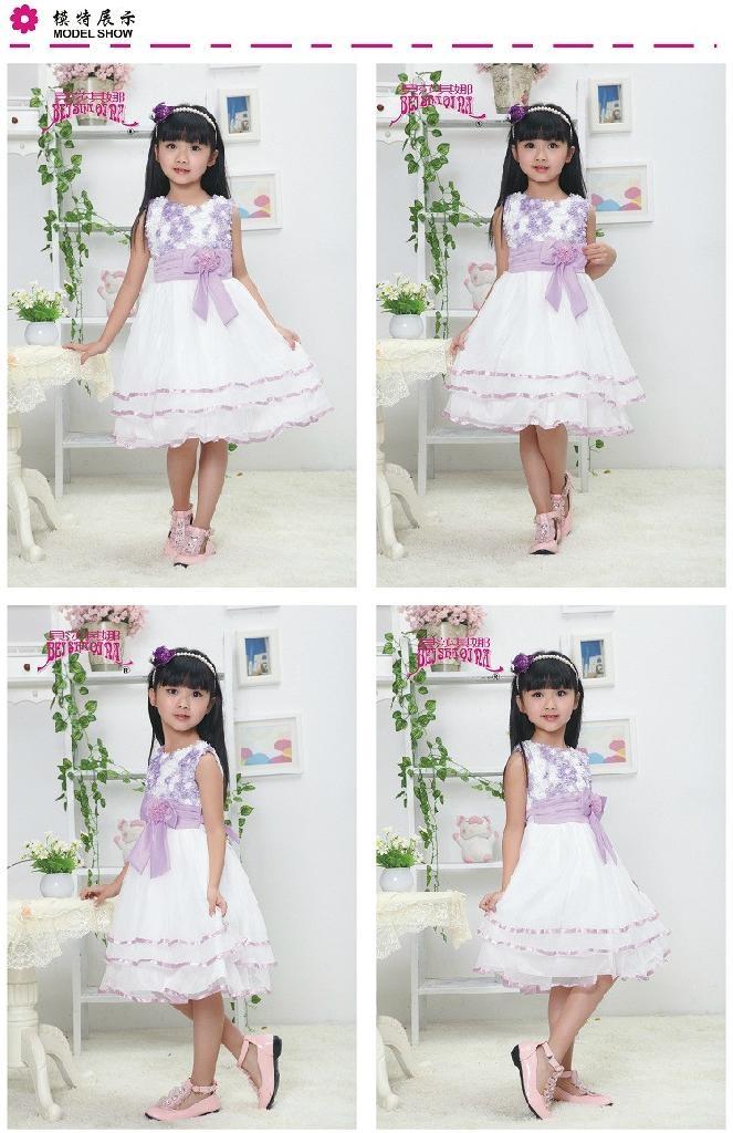 花邊束腰女童童裝連衣裙婚紗裙 3
