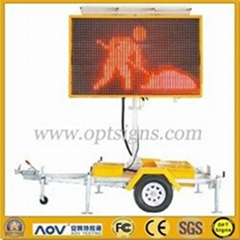 Solar Powered Amber Color Portable Changeable Message Signs