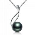 S925 silver Tahiti black pearl pendant