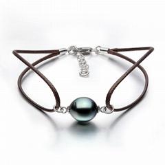S925 silver Tahiti black pearl bracelet