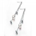 S925 si  er natural seawater pearl earrings