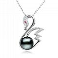 S925 silver Tahiti black pearls