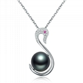18 k white Tahiti black pearls