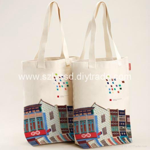 Custom Printed Canvas Fabric Ping Tote Bag 5