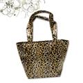 Leopard print microfiber handbag