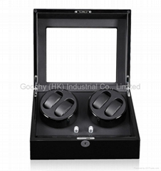 Automatic Watch Winder Case Storge Display Box for 4+6 Watches Black Piano Paint