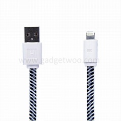 New design flat fabric braided nylon USB to lightning 8pin data sync charging ca