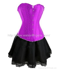 Rhinestone Purple Polyester Overbust Corset With Sexy Dress