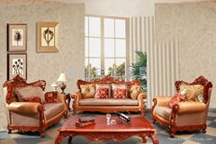 实木皮布结合沙发