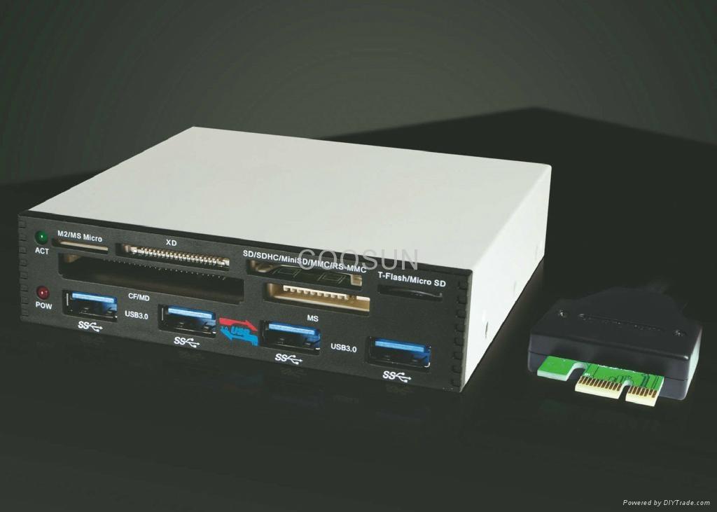 "PCI-E To USB 3.0 Internal Combo 3.5"" Internal USB 4-Port HUB+USB 2.0 card reader 4"