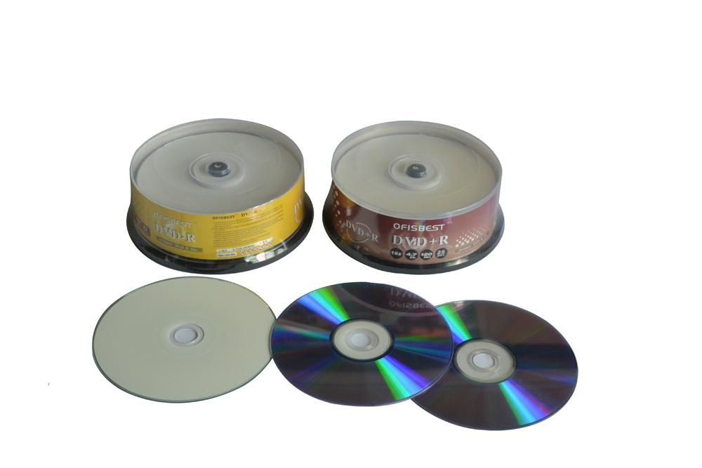 Blank DVD+/-R 16X Record speed 4.7GB storage capacity 120minutes playing time 2