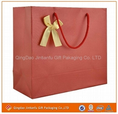 red print white card handle paper bags for shopping&packaging